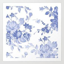 Blue Flower Pattern Throw Pillow Cover Art Print