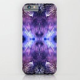 Beautiful purple fireworks effect surreal shaped symmetrical kaleidoscope iPhone Case