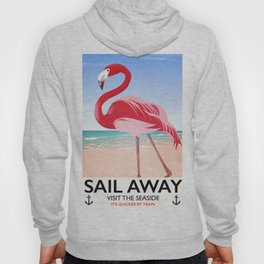 Sail Away Flamingo beach poster. Hoody