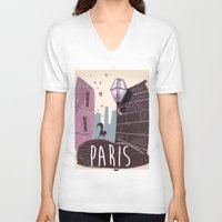 travel poster V-neck T-shirts featuring Vintage Paris Travel Poster cartoon by Nick's Emporium Gallery