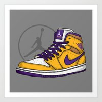 lakers Art Prints featuring Jordan 1 mid (LA Lakers) by Pancho the Macho