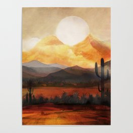 Desert in the Golden Sun Glow Poster