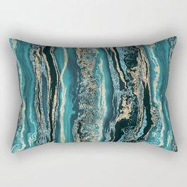 Turquoise Gold Sparkling Luxury Marble Gemstone Art Rectangular Pillow