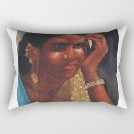 Thinking Deep, Indian Women - in Watercolor Rectangular Pillow