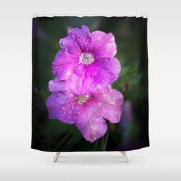 Wet Purple Impatiens Shower Curtain