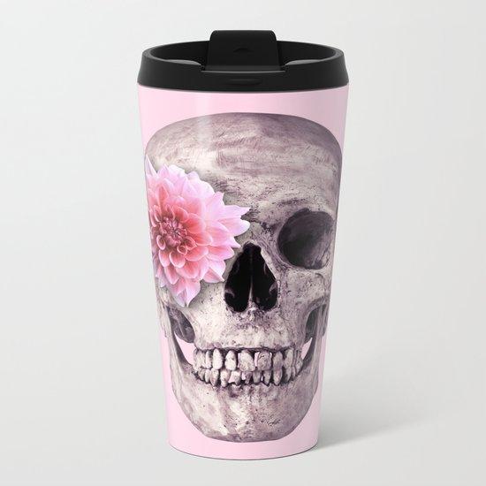 FLOWER SKULL Metal Travel Mug