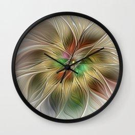 Golden Flourish, Abstract Fractal Art Wall Clock