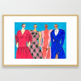 Delpozo Girls in Pre Fall 2019 – Original Fashion art, Fashion Illustration, Fashion wall art Framed Art Print