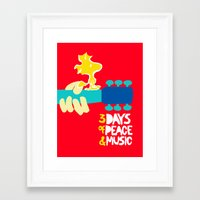woodstock Framed Art Prints featuring Woodstock by NoHo