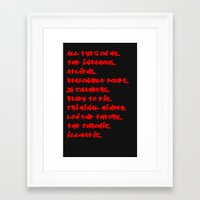 outkast Framed Art Prints featuring Top 10 by Lyrical Threads