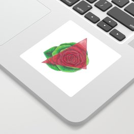 Green and Red Rose with Triangle Sticker