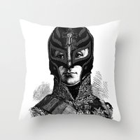 wrestling Throw Pillows featuring WRESTLING MASK 6 by DIVIDUS