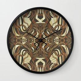 Neo-Tribal Woodwork Mandala Print Wall Clock