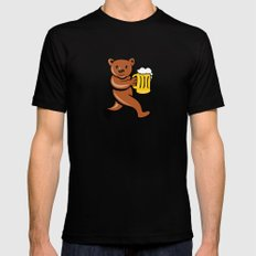 Bear Beer Mug Running Side Cartoon MEDIUM Mens Fitted Tee Black