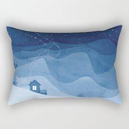 house in mountains, blue Rectangular Pillow