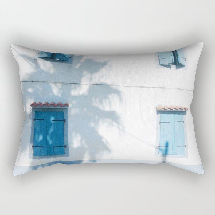 Blue windows and a palm Rectangular Pillow