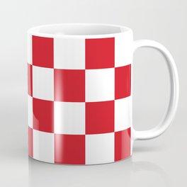 Checkered - White and Fire Engine Red Coffee Mug