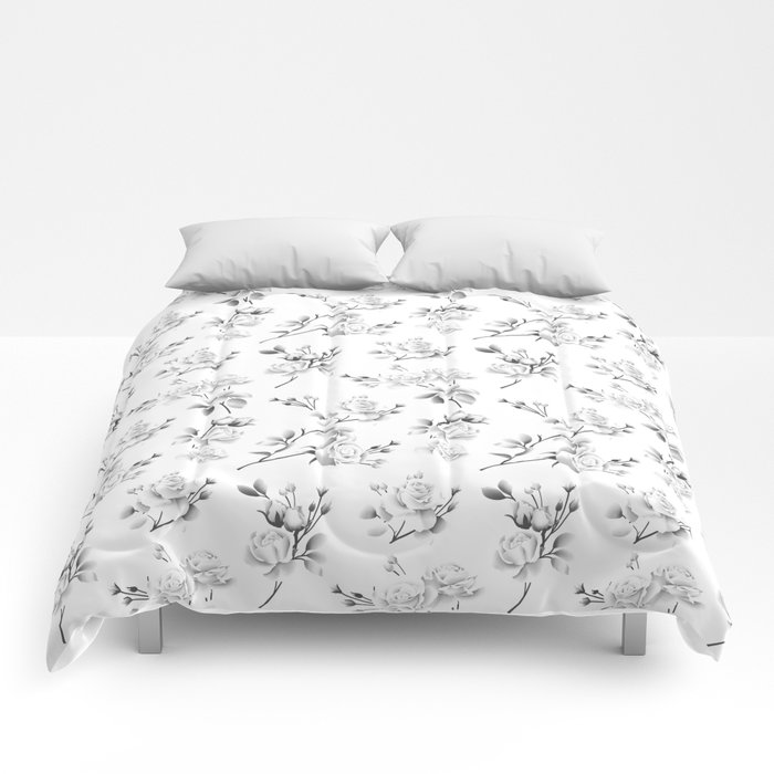 Spring Rose - White Comforters