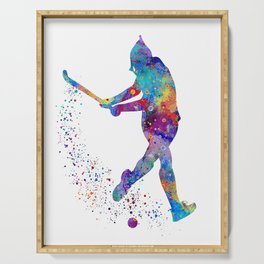 Girl Field Hockey Watercolor Print Field Hockey Gift Sports Poster Home Decor Girl's Room Decor Serving Tray