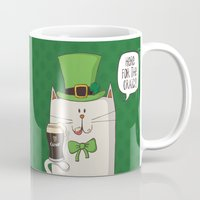 irish Mugs featuring Saint Patric's cat, Cat cartoon characters, Irish Cat cartoon, ZWD004 by ZeeWillDraw