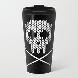 Knitted Skull (White on Black) Travel Mug