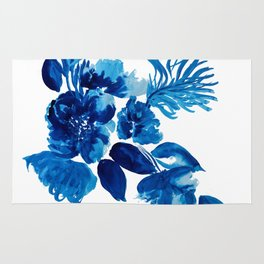 Blue watercolor flowers and stems Rug
