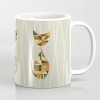 mid century Mugs featuring Mid Century Cat by MidPark Prints