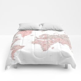 "Highly detailed world map in dusty pink and grey watercolor, ""Piper"" Comforters"