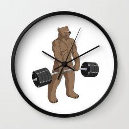 Bear Weightlifting Deadlift Fitness Gym Design  Wall Clock