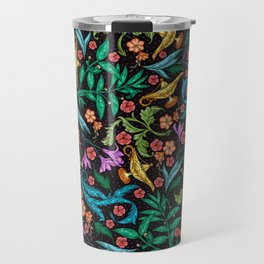 Asian-Inspired Floral Pattern With Gold Magical Lanterns Travel Mug