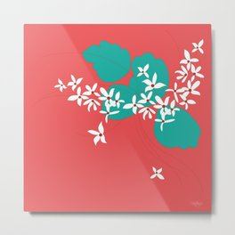 Minimalistic White Flowers On A Red Metal Print