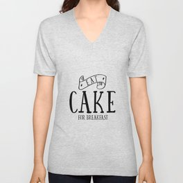 Eat cake for breakfast,kitchen vinyl home cafe family wall funny quote, Present modern home decor Unisex V-Neck