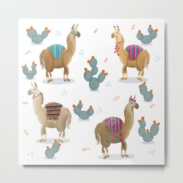 Stylish Llamas Metal Print