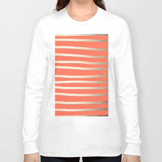 Simply Drawn Stripes in White Gold Sands on Deep Coral Long Sleeve T-shirt