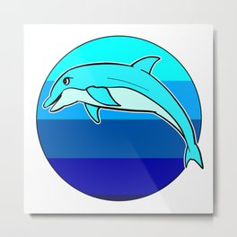 Retro Jumping Dolphin 1980s Beach Design Metal Print