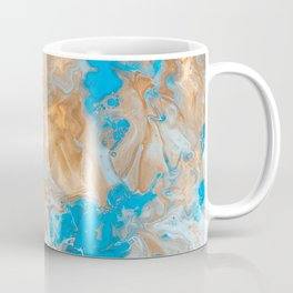 paint liquid fluid art stains blue brown distortion Coffee Mug