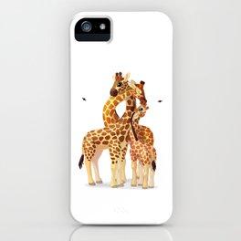 Cute giraffes loving family iPhone Case