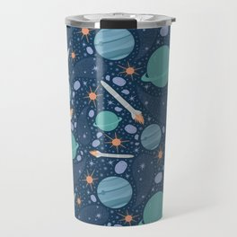Blue and green planets with cosmic rockets and asteroids Travel Mug