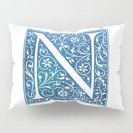 Letter N Antique Floral Letterpress Pillow Sham