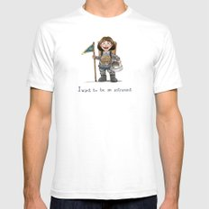 LITTLE ASTRONAUT White Mens Fitted Tee SMALL