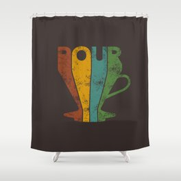 Pour Over Coffee Lover // Abstract Typography Wall Artwork Graphic Design Kettle Shower Curtain
