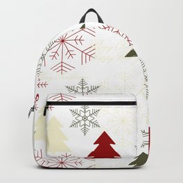 Christmas pattern with gift boxes and snowflakes. Backpack