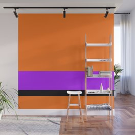 Solid Color Orange w/ Purple and Black Divider Lines - Halloween Illustration Abstract Art Wall Mural