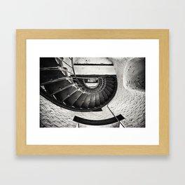 Sepia - Cape Hatteras Lighthouse (inside steps), Outer Banks, NC Framed Art Print