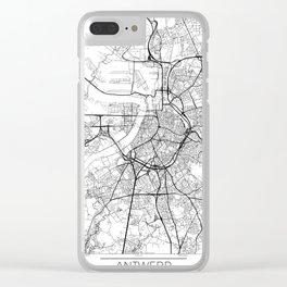 Antwerp Map White Clear iPhone Case