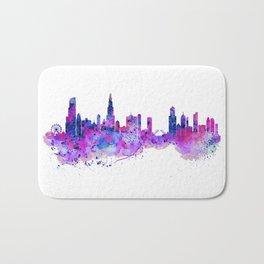 Chicago Watercolor Skyline 2 Bath Mat