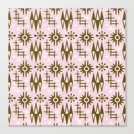 Mid Century Modern Atomic Space Age Pattern Pink Brown Canvas Print