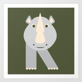 Letter R // Animal Alphabet // Rhino Monogram Art Print