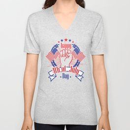Happy 4th of July Freedom Hand & USA flag Unisex V-Neck