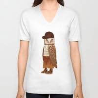 hip hop V-neck T-shirts featuring Hip Hop Owl by Santiago Uceda